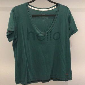 Peace love world v neck t shirt hello green medium
